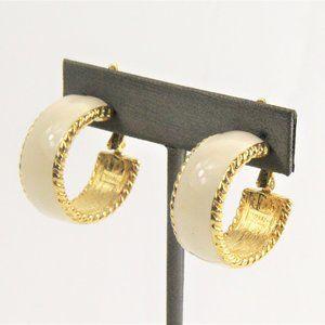 VINTAGE TRIFARI GOLD METAL ENAMEL HOOP EARRINGS